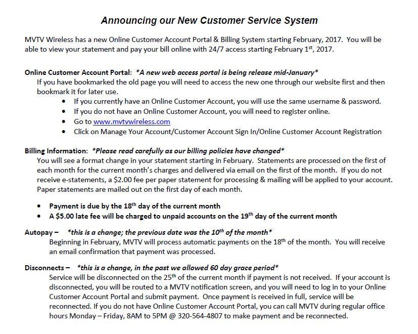 New Customer Service System Letter Mvtv Wireless